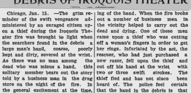 A newspaper clipping describes one event involving grave robbers after the fire. The newspaper refers to them as ghouls.