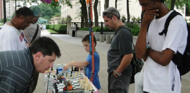 An outdoor chess party that's also a social experiment