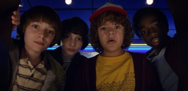 Noah Schnapp, Finn Wolfhard, Gaten Matarazzo, and Caleb Mclaughlin in Stranger Things 2. Netflix