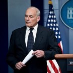 White House chief of staff John Kelly pauses while speaking about President Trump's calls to fallen service members' family members during a briefing at the White House on Thursday.