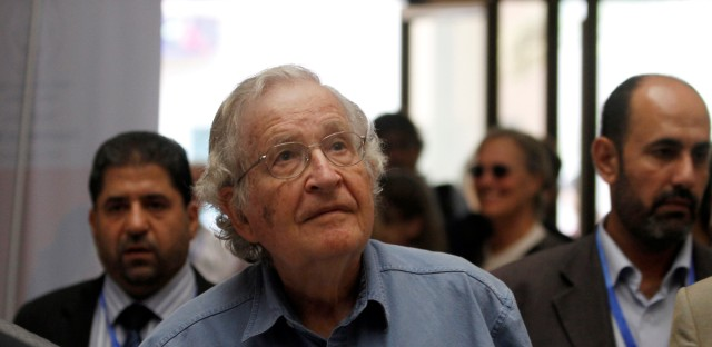 Jewish-American scholar and activist Noam Chomsky arrives to a conference at the Islamic University in Gaza City, Saturday, Oct. 20 , 2012. Chomsky entered Gaza Strip from Egypt Thursday for his first visit to Gaza. (AP Photo/Hatem Moussa)