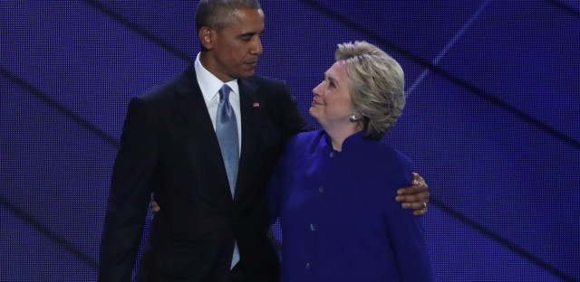 "The Secret Service says the packages addressed to former Secretary of State Hillary Clinton and former President Barack Obama, seen here in 2016, ""were immediately identified during routine mail screening procedures as potential explosive devices."""