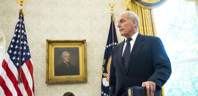 White House Chief of Staff John Kelly listens as President Trump speaks at the White House on Oct. 19.