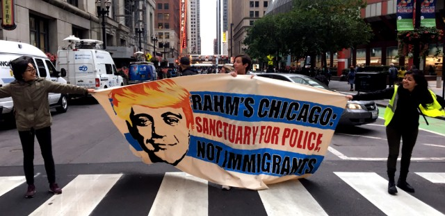 Activists outside the City Hall on Oct.10, 2017, protesting the Chicago Police Department's so-called gang database and the city of Chicago's plans for a $95 million training facility for police and fire recruits.