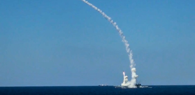 In this image provided by Russian Defense Ministry Press Service and released on Friday, June 23, 2017, long-range Kalibr cruise missiles are launched by a Russian Navy ship in the eastern Mediterranean. Russia's Defense Ministry said it fired cruise missiles from the Mediterranean Sea on positions of the Islamic State in Syria.