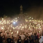 This Friday, Aug. 11, 2017, image made from a video provided by Vice News Tonight shows a white nationalist rally in Charlottesville, Va. (Vice News Tonight via AP)