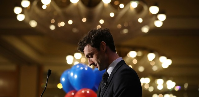 Democratic candidate Jon Ossoff speaks to his supporters as votes continue to be counted in the race for Georgia's 6th Congressional District on Tuesday in Atlanta. Early Wednesday the race was projected to head to a runoff.