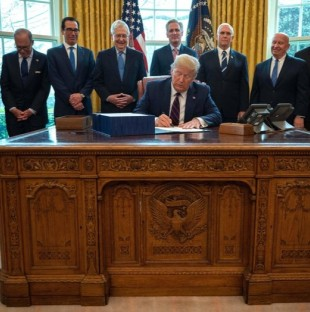 President Trump signs the CARES act