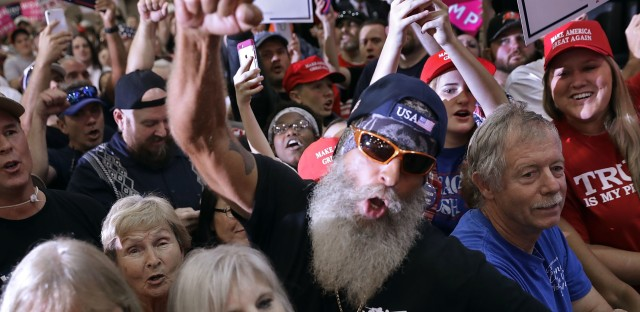 Supporters cheer for Donald Trump at a campaign rally in in Tampa, Fla., Saturday.