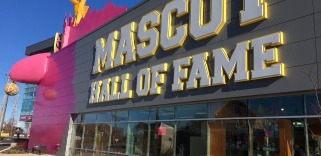 The new Mascot Hall of Fame in Whiting, Indiana honors professional and college sports mascots around the country. (Photo by Michael Puente, WBEZ)