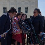 Immigrant activists, including Jose Antonio Vargas and Sophie Cruz, speak to reporters after oral arguments at the Supreme Court.