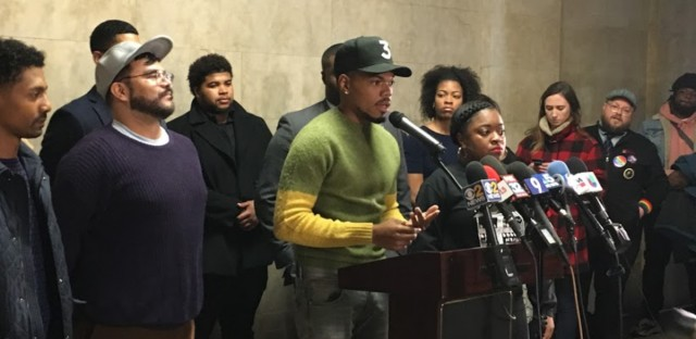 Chance the Rapper announcing his support for Toni Preckwinkle for mayor at a City Hall news conference Thursday, March 21.