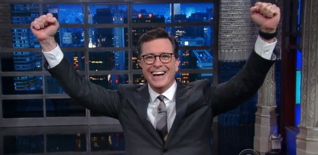 On Wednesday's Late Show, host Stephen Colbert celebrated not being fired from his job. A #FireColbert campaign began after the comedian unleashed a barrage of insults aimed at President Trump on Monday's show.