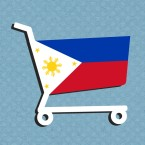 A graphic of a shopping cart emblazoned with the Filipino flag, on a light blue background