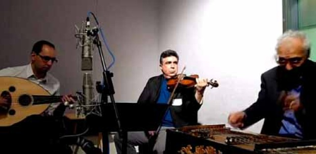Members of Steve Gibons' Gypsy Rhythm Project and Bulbul Classical Arabic Ensemble perform on 'Eight Forty-Eight'