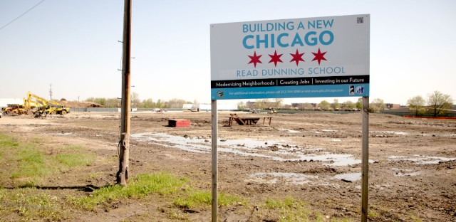 Chicago Public Schools is building a new school at this site in the Dunning neighborhood on the far Northwest Side but won't say which students the school will serve.