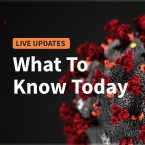 Graphic of the coronavirus wiht the worlds 'what to know today' overlaid