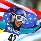 Sarah Hendrickson celebrates after winning the women's ski jump at the Nordic Ski World Championships in Italy on Feb. 22, 2013. (AP Photo/Matthias Schrader)