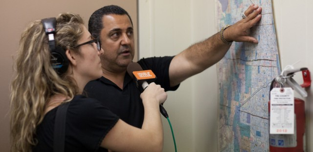 Sadeghi points out routes to reporter Lauren Chooljian.