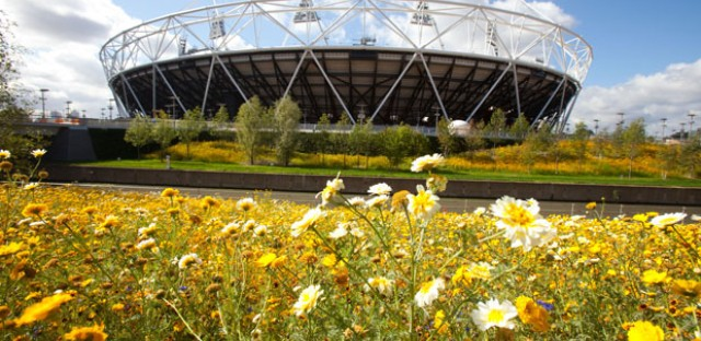 The parklands area south of the Olympic Stadium in London.
