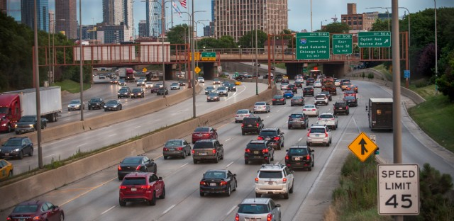 In this July 2018 file photo, traffic moves through the Kennedy Expressway near downtown Chicago.