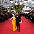 Actors Anna Kendrick, centre left, and Justin Timberlake arrive for the screening of the film film Cafe Society and the Opening Ceremony with producer Jeffrey Katzenberg, far left, at the 69th international film festival, Cannes, southern France, Wednesday, May 11, 2016.