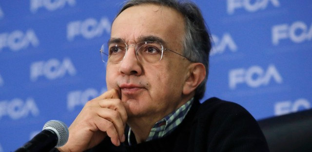 In this Monday, Jan. 9, 2017, file photo, Fiat Chrysler CEO Sergio Marchionne listens to a question during a briefing at the North American International Auto show, in Detroit.