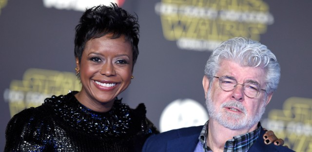"Mellody Hobson, left, and George Lucas arrive at the world premiere of ""Star Wars: The Force Awakens"" at the TCL Chinese Theatre on Monday, Dec. 14, 2015, in Los Angeles."