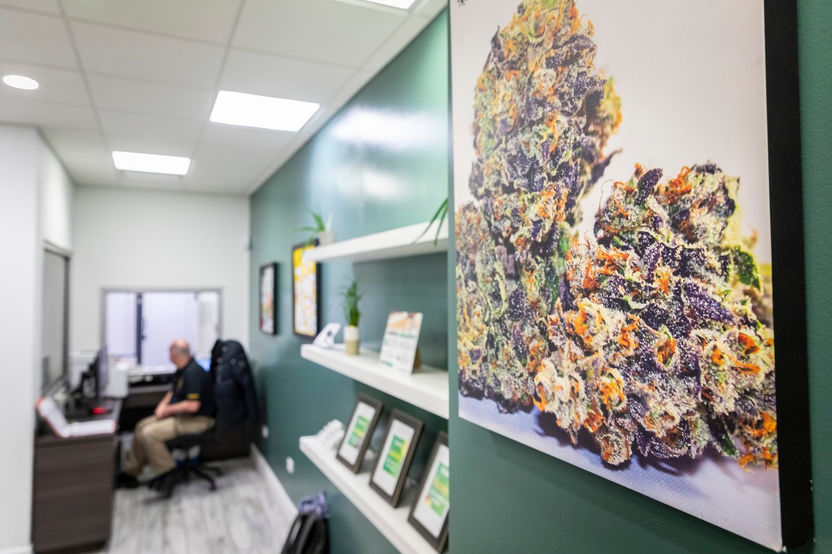 A large photograph of marijuana flower hangs on the green wall of MedMar dispensary.