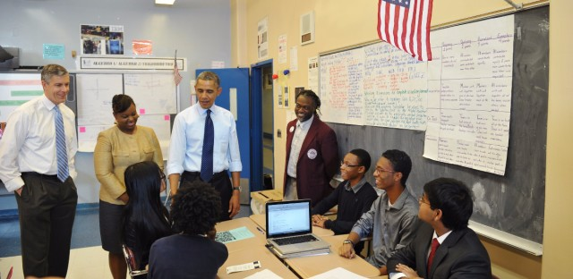 President Obama and Education Secretary Arne Duncan visit a classroom at P-TECH.