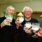 Then-Sen. James Jeffords, R-Vt.; then-Rep. Bernie Sanders, I-Vt.; and Sen. Patrick Leahy, D-Vt., drink glasses of milk in 1999. Senate rules during the impeachment trial of President Trump permit the consumption of milk on the chamber floor, a strange rule that has sparked a conversation on social media.