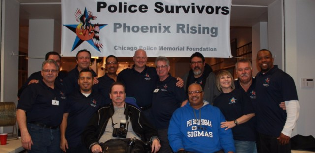 The Chicago Police Survivors group at a fundraiser in March.