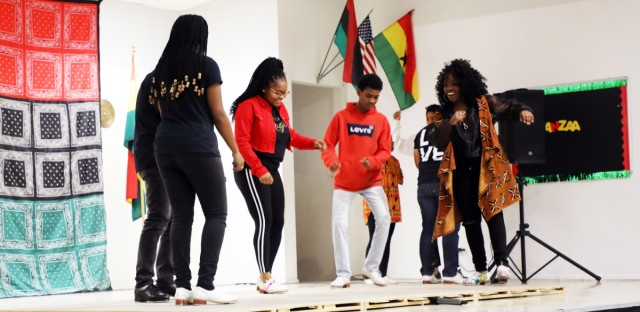 Tap dancers from M.A.D.D. Rhythms perform at a Kwanzaa event called Super Karamu at Kwame Nkrumah Academy on Chicago's South Side on Jan. 1, 2019.