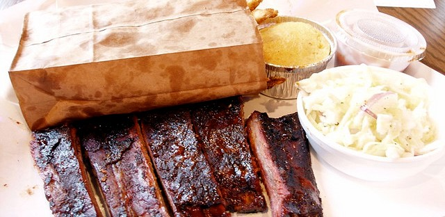 Smoque St. Louis ribs with coleslaw and cornbread