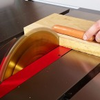 The SawStop senses an electrical current in the hot dog. Courtesy of SawStop