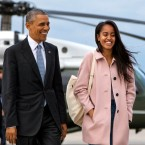 In a Thursday, April 7, 2016 file photo, President Barack Obama jokes with his daughter Malia Obama as they walk to board Air Force One from the Marine One helicopter, as they leave Chicago en route to Los Angeles. The White House announced Sunday, May 1, 2016, that Malia Obama will take a year off after high school and attend Harvard University in 2017. (