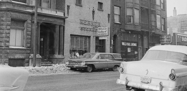 The Prohibition era bloodbath known as the St. Valentine's Day Massacre took place in this non-descript building in Chicago, shown Feb. 4, 1959.