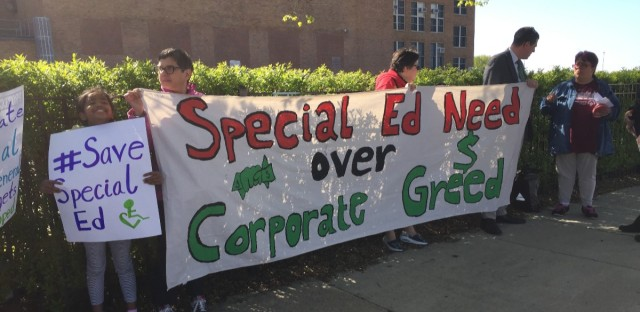 Parents and teachers speak out about problems with special education at a rally in May 2017 on the South Side.