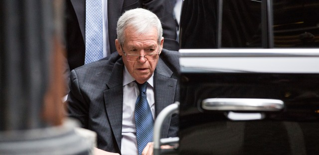 Former U.S. House Speaker Dennis Hastert arrives for sentencing on April 27, 2016, in Chicago.