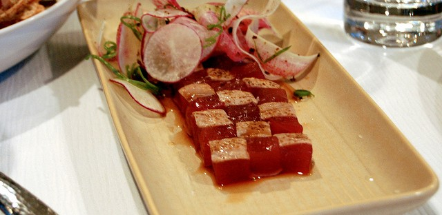 Tuna mosaic, watermelon radish, lemon