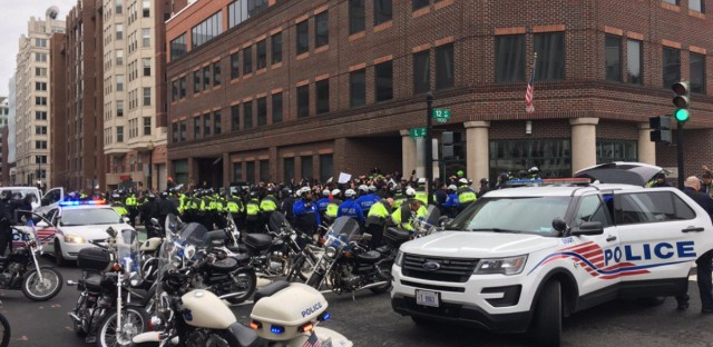 """""""Police cornered the protesters. Their hands are up."""" tweeted WAMU's Patrick Madden"""