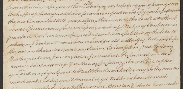 An early letter, written when Hamilton was 12 years old — note the curlicued signature, and the fine handwriting honed at his clerking job.
