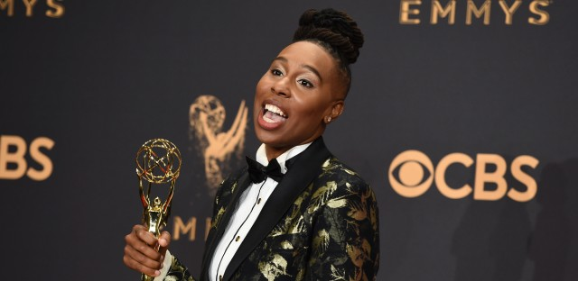"Lena Waithe poses in the press room with the award for outstanding writing for a comedy series for the ""Master of None"" episode ""Thanksgiving"" at the 69th Primetime Emmy Awards on Sunday, Sept. 17, 2017, at the Microsoft Theater in Los Angeles."