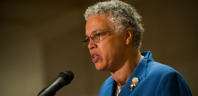 Cook County Board President Toni Preckwinkle speaks at Chicago's City Hall on July 25, 2018.