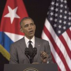 "President Obama delivers a speech at the Grand Theater of Havana in Cuba on Tuesday. Obama said he came to Cuba to ""bury the last remnant of the Cold War in the Americas."""