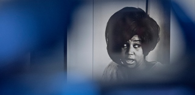 The photo of Aretha Franklin by Linda McCartney is seen behind a camera during the press preview at the exhibition 'Sixties' by Linda McCartney in the Avant-garde House of Art in Apolda, Germany on April 8, 2016.