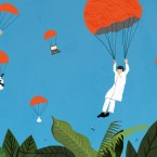 parachuting scientists illustration