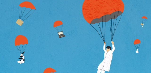 parachuting scientists illustration
