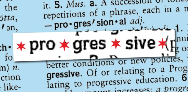An illustration of the word progressive in the dictionary, styled to evoke the Chicago flag