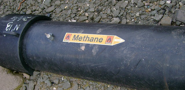 A pipe carries methane in the United Kingdom.